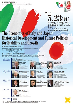 Poster of Economic Conference to Commemorate the 150th Anniversary of Diplomatic Relationship between Italy and Japan The Economics of Italy and Japan: Historical Development and Future Policies for Stability and Growth