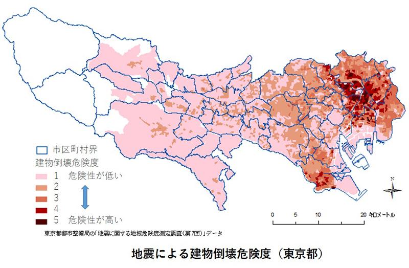 地震による建物倒壊危険度(東京都)