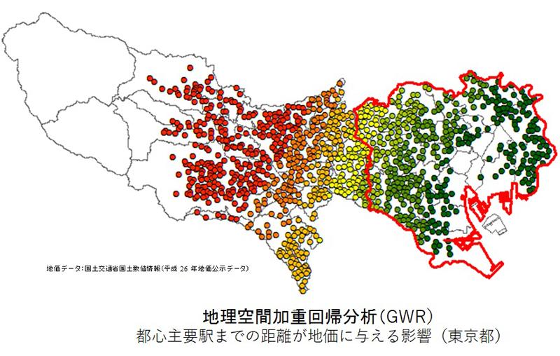 地理空間加重回帰分析(GWR) 都心主要駅までの距離が地価に与える影響(東京都)